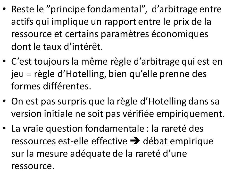 Reste le principe fondamental, darbitrage entre actifs qui implique un rapport entre le prix de la ressource et certains paramètres économiques dont l