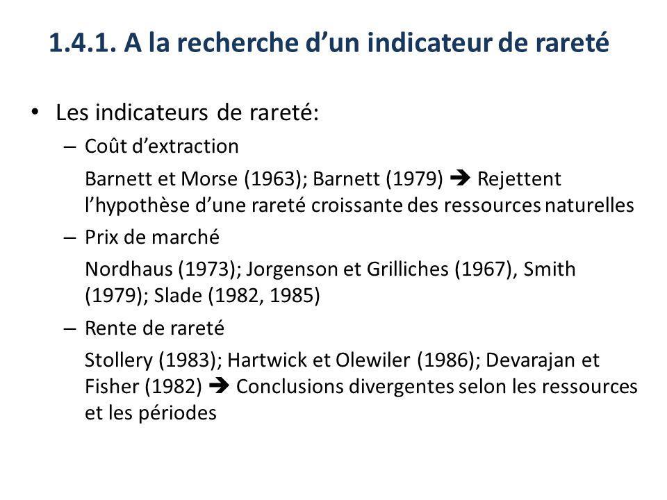1.4.1. A la recherche dun indicateur de rareté Les indicateurs de rareté: – Coût dextraction Barnett et Morse (1963); Barnett (1979) Rejettent lhypoth