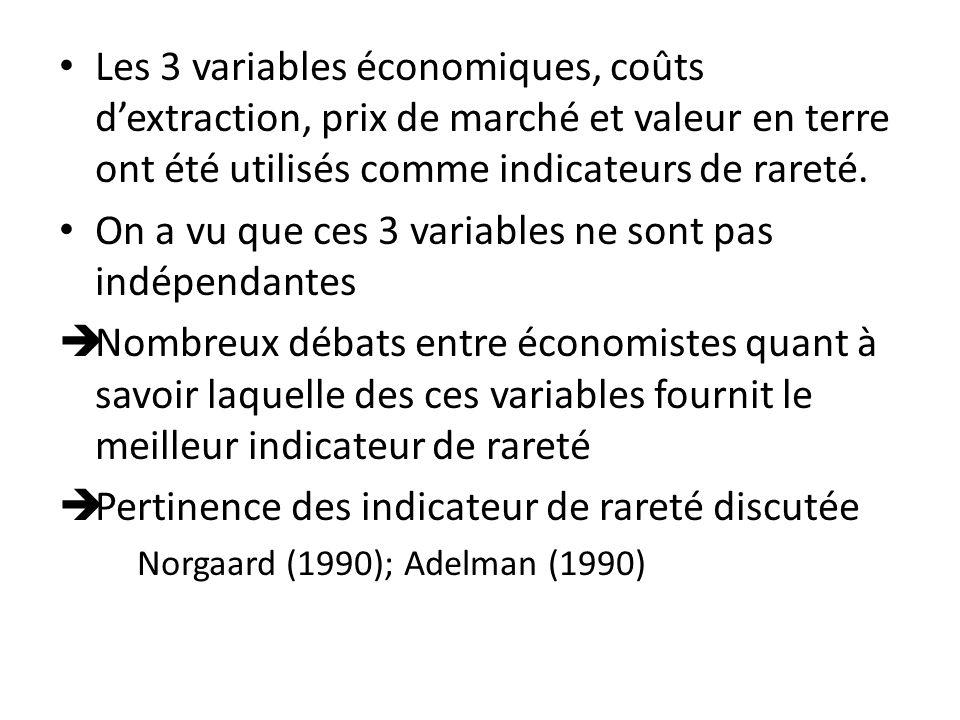 Les 3 variables économiques, coûts dextraction, prix de marché et valeur en terre ont été utilisés comme indicateurs de rareté. On a vu que ces 3 vari
