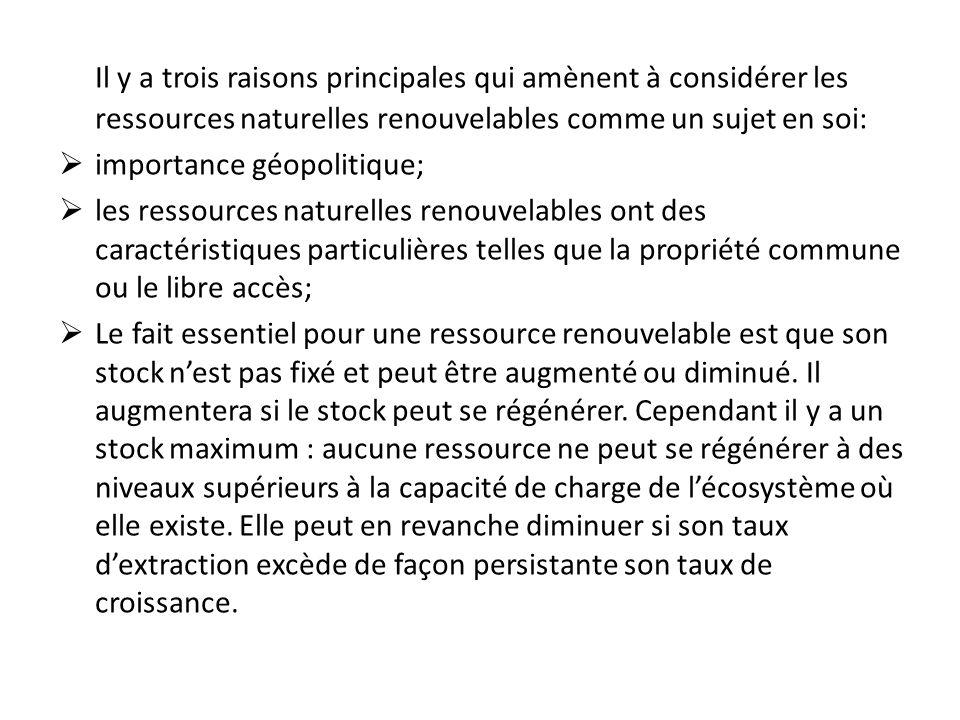 Il y a trois raisons principales qui amènent à considérer les ressources naturelles renouvelables comme un sujet en soi: importance géopolitique; les