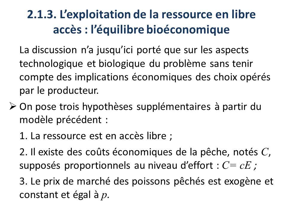 2.1.3. Lexploitation de la ressource en libre accès : léquilibre bioéconomique La discussion na jusquici porté que sur les aspects technologique et bi
