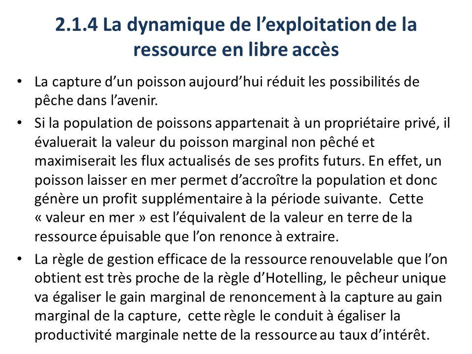 2.1.4 La dynamique de lexploitation de la ressource en libre accès La capture dun poisson aujourdhui réduit les possibilités de pêche dans lavenir. Si