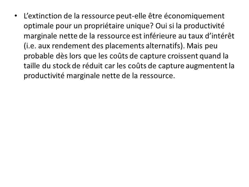 Lextinction de la ressource peut-elle être économiquement optimale pour un propriétaire unique? Oui si la productivité marginale nette de la ressource