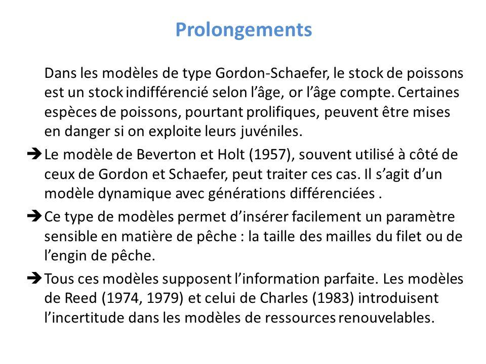 Dans les modèles de type Gordon-Schaefer, le stock de poissons est un stock indifférencié selon lâge, or lâge compte. Certaines espèces de poissons, p