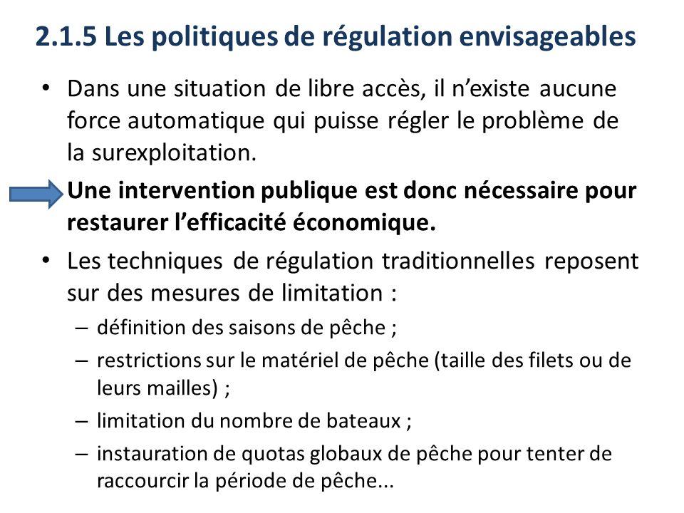 2.1.5 Les politiques de régulation envisageables Dans une situation de libre accès, il nexiste aucune force automatique qui puisse régler le problème