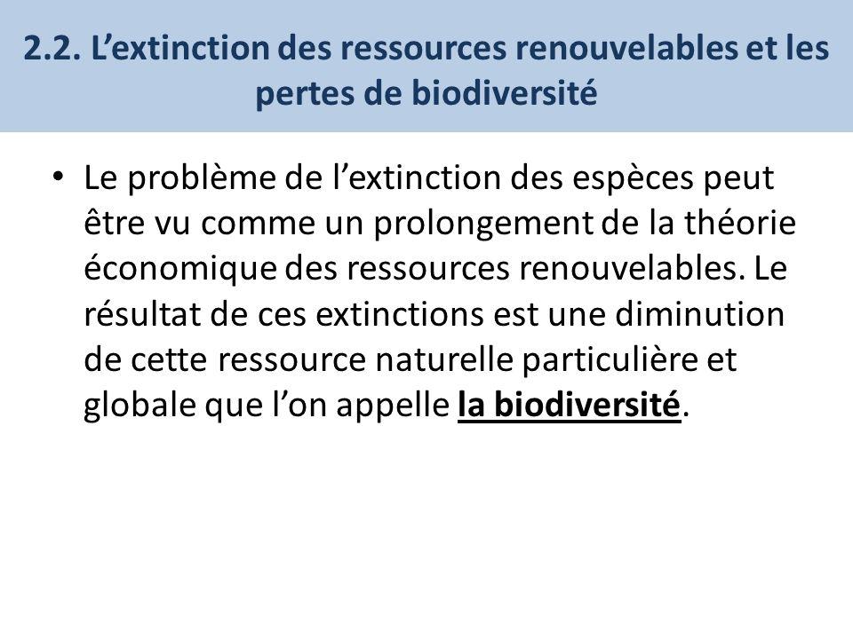 2.2. Lextinction des ressources renouvelables et les pertes de biodiversité Le problème de lextinction des espèces peut être vu comme un prolongement