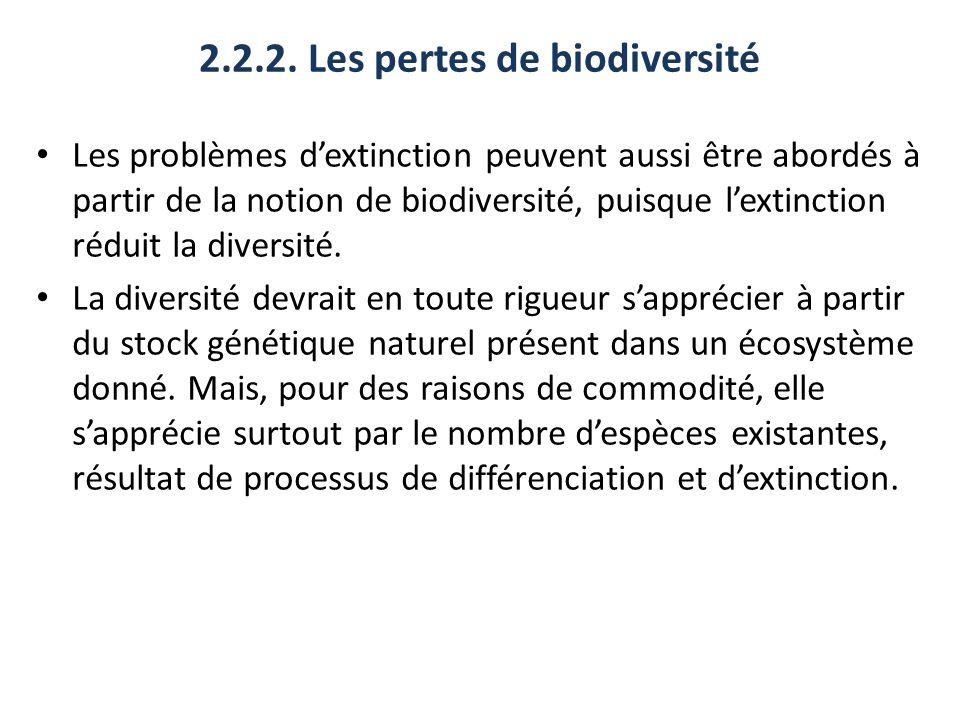 2.2.2. Les pertes de biodiversité Les problèmes dextinction peuvent aussi être abordés à partir de la notion de biodiversité, puisque lextinction rédu