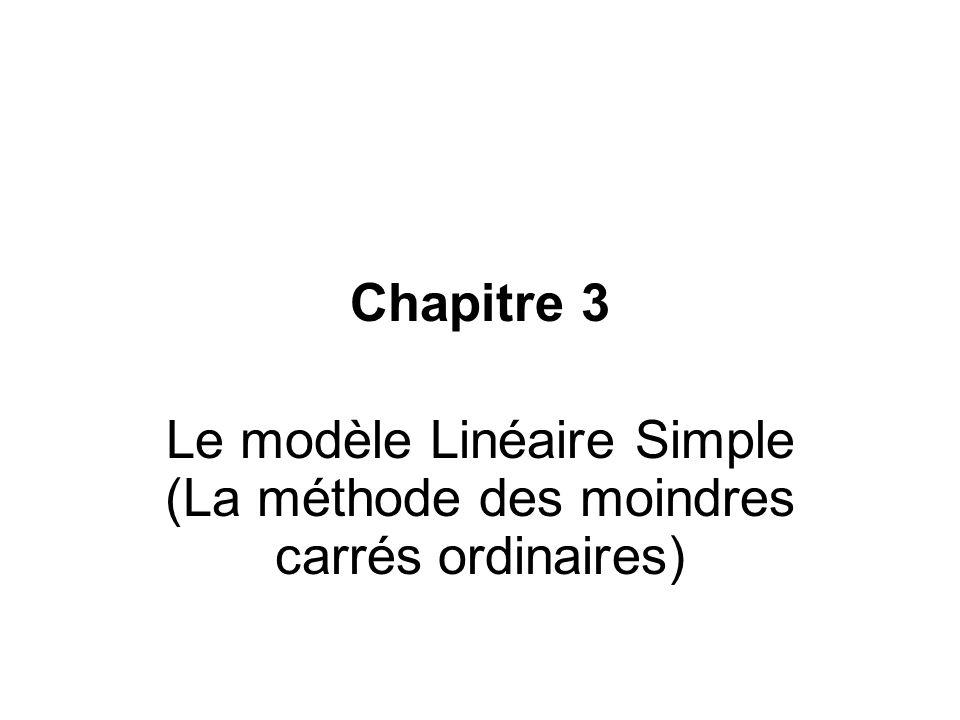 Chapitre 3 Le modèle Linéaire Simple (La méthode des moindres carrés ordinaires)