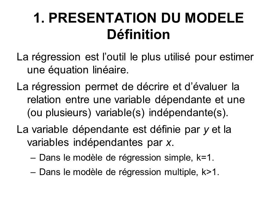 1. PRESENTATION DU MODELE Définition La régression est loutil le plus utilisé pour estimer une équation linéaire. La régression permet de décrire et d