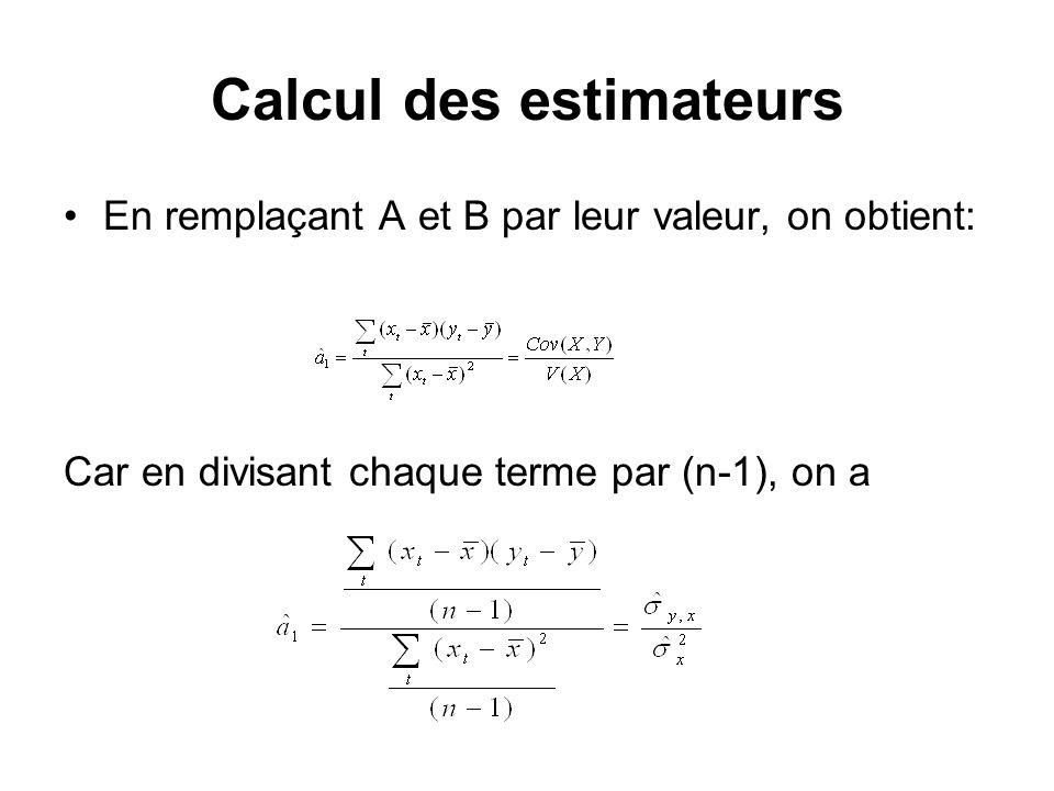 Calcul des estimateurs En remplaçant A et B par leur valeur, on obtient: Car en divisant chaque terme par (n-1), on a