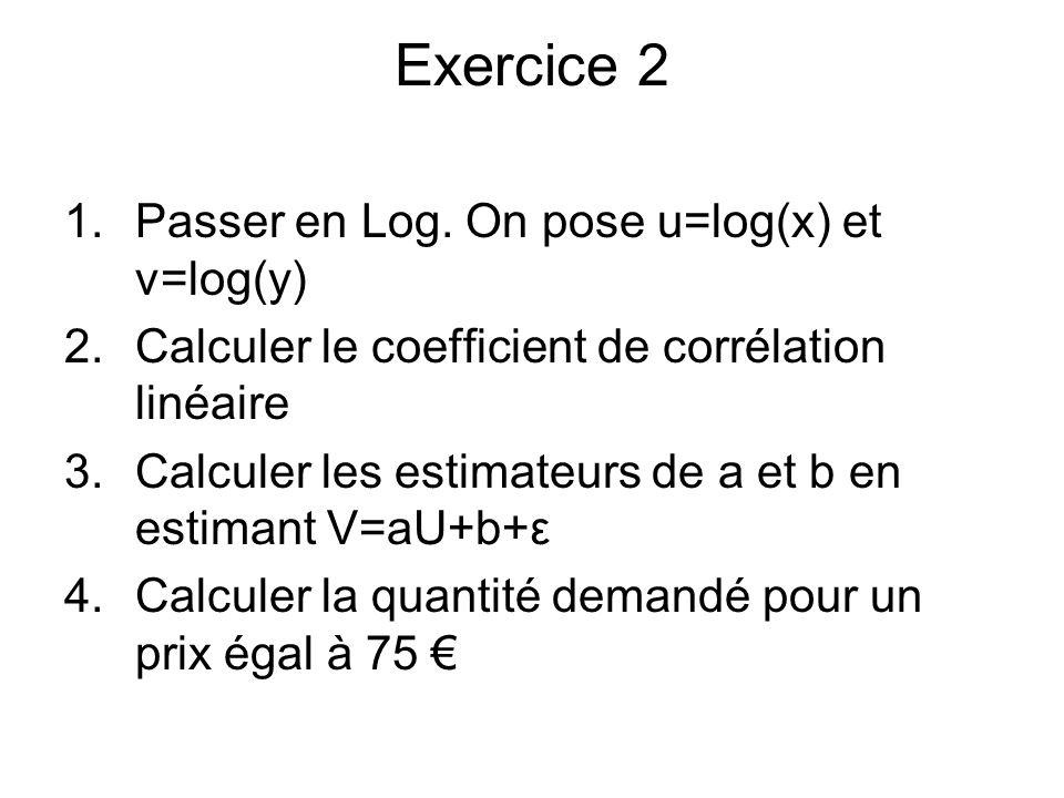 Exercice 2 1.Passer en Log. On pose u=log(x) et v=log(y) 2.Calculer le coefficient de corrélation linéaire 3.Calculer les estimateurs de a et b en est