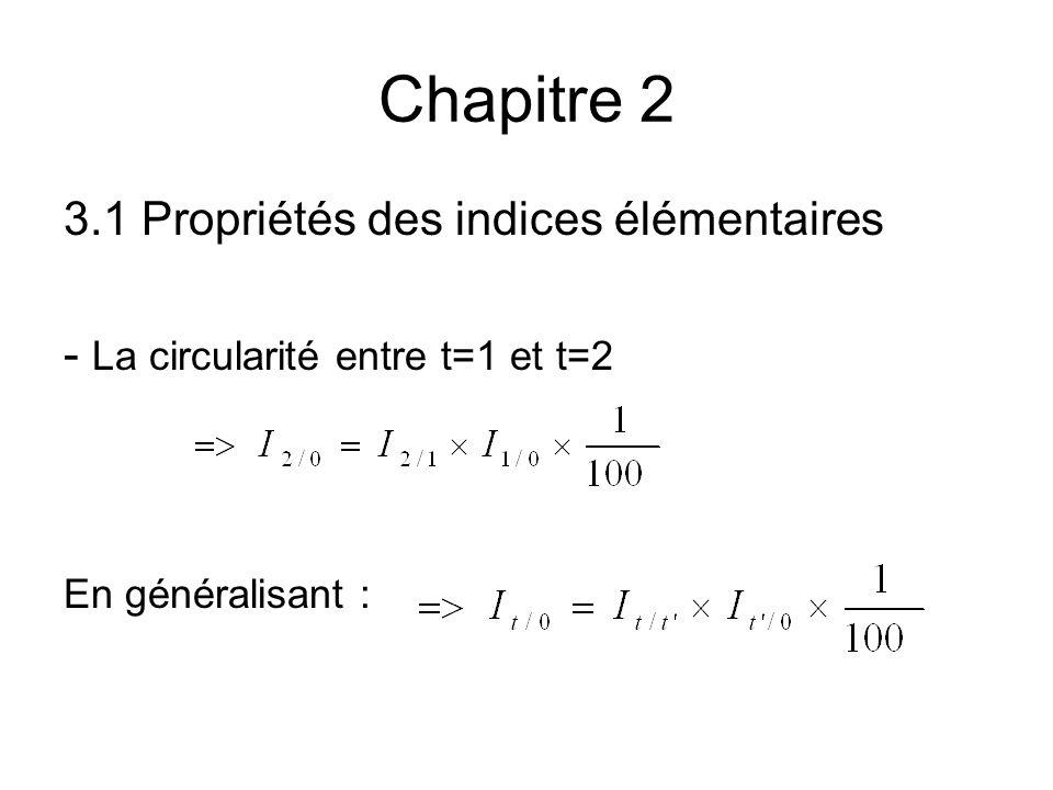 Chapitre 2 3.1 Propriétés des indices élémentaires - La circularité entre t=1 et t=2 En généralisant :