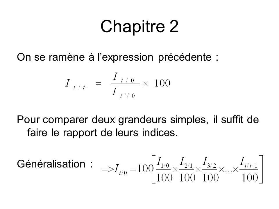 Chapitre 2 On se ramène à lexpression précédente : Pour comparer deux grandeurs simples, il suffit de faire le rapport de leurs indices. Généralisatio