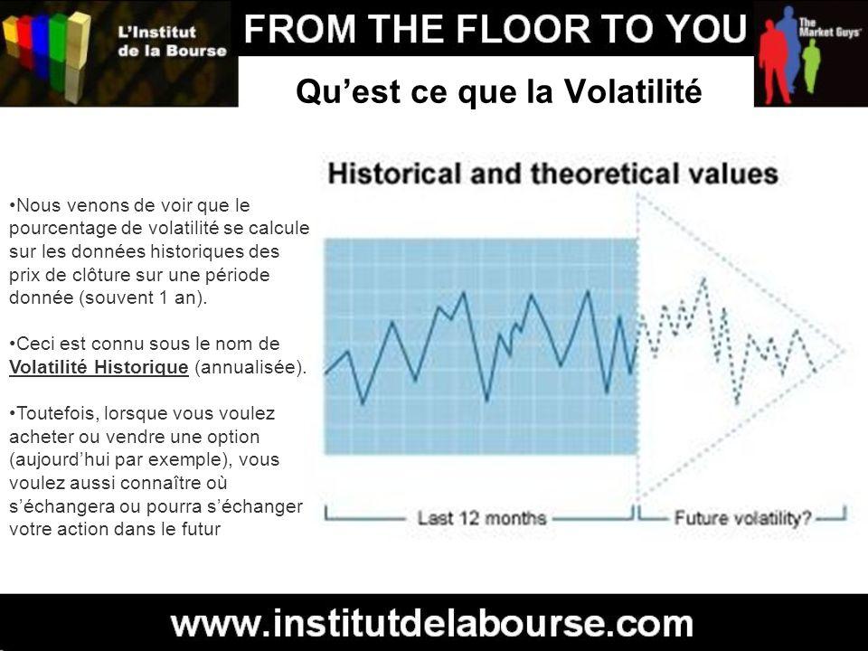 Quest ce que la Volatilité Nous venons de voir que le pourcentage de volatilité se calcule sur les données historiques des prix de clôture sur une pér