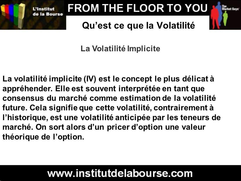 Quest ce que la Volatilité La Volatilité Implicite La volatilité implicite (IV) est le concept le plus délicat à appréhender. Elle est souvent interpr