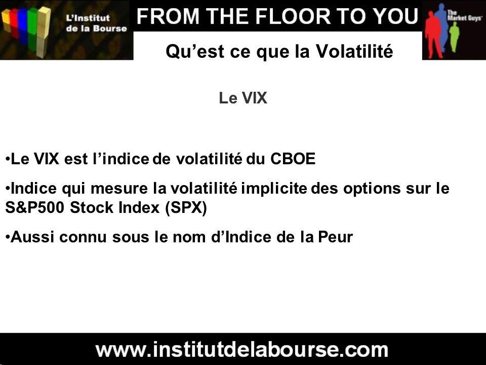 Quest ce que la Volatilité Le VIX Le VIX est lindice de volatilité du CBOE Indice qui mesure la volatilité implicite des options sur le S&P500 Stock I
