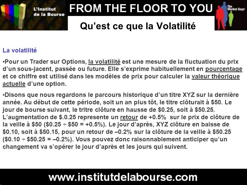 Quest ce que la Volatilité La volatilité Pour un Trader sur Options, la volatilité est une mesure de la fluctuation du prix dun sous-jacent, passée ou
