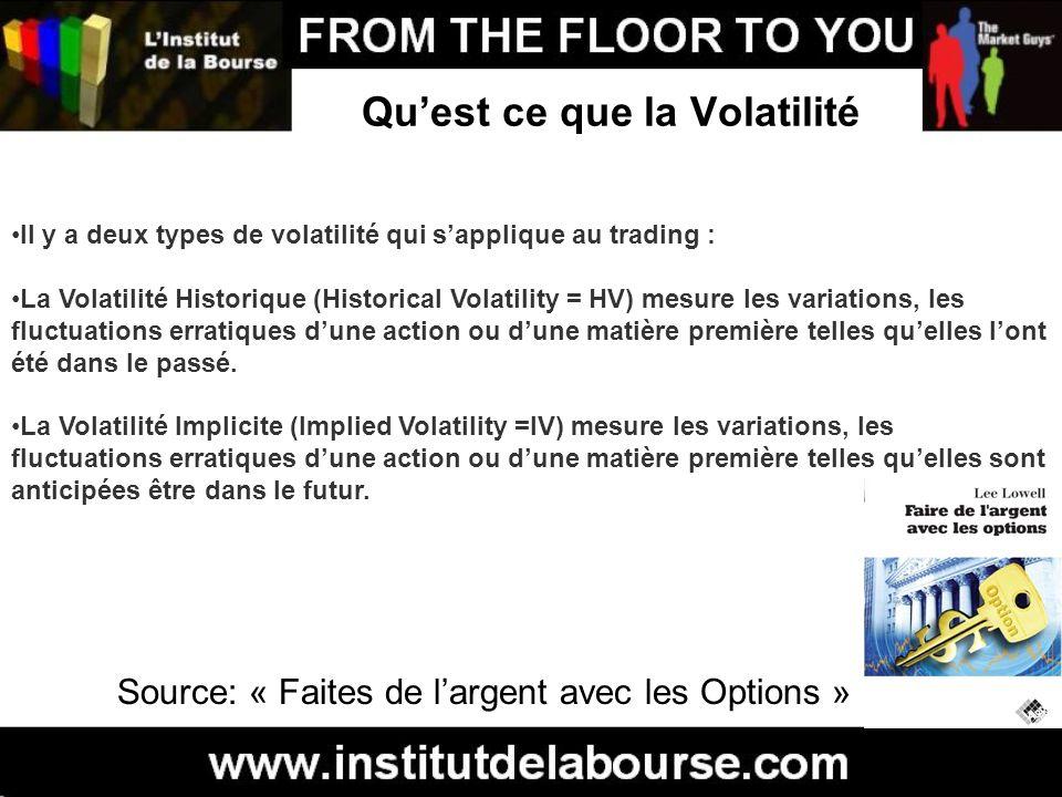Quest ce que la Volatilité Il y a deux types de volatilité qui sapplique au trading : La Volatilité Historique (Historical Volatility = HV) mesure les