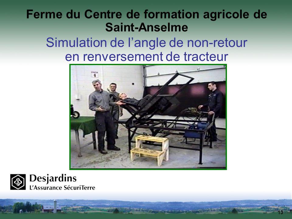 13 Ferme du Centre de formation agricole de Saint-Anselme Simulation de langle de non-retour en renversement de tracteur