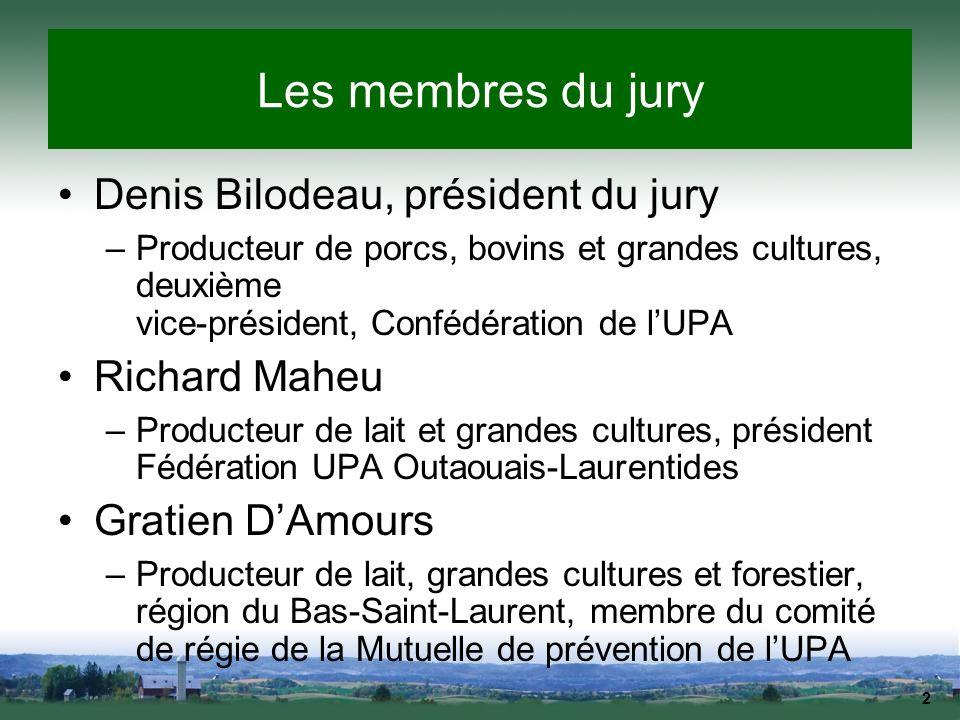 2 Les membres du jury Denis Bilodeau, président du jury –Producteur de porcs, bovins et grandes cultures, deuxième vice-président, Confédération de lU