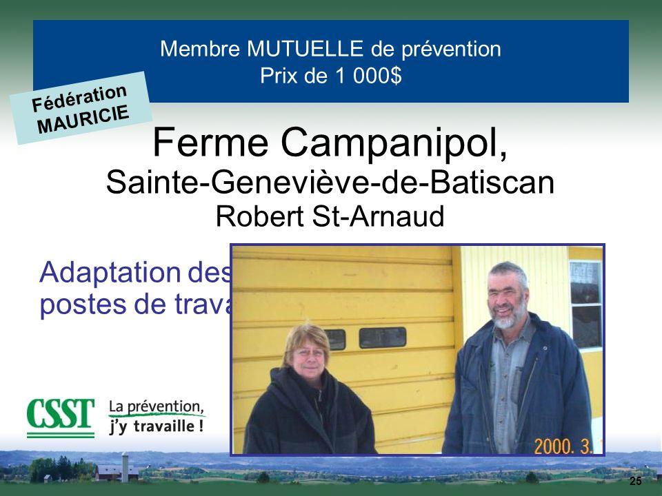 25 Membre MUTUELLE de prévention Prix de 1 000$ Fédération MAURICIE Ferme Campanipol, Sainte-Geneviève-de-Batiscan Robert St-Arnaud Adaptation des pos