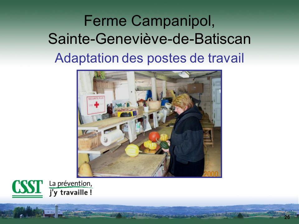 26 Ferme Campanipol, Sainte-Geneviève-de-Batiscan Adaptation des postes de travail