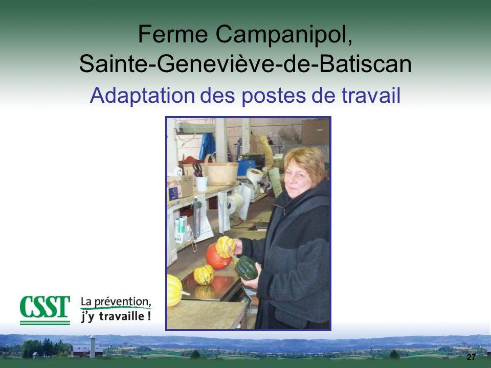 27 Ferme Campanipol, Sainte-Geneviève-de-Batiscan Adaptation des postes de travail