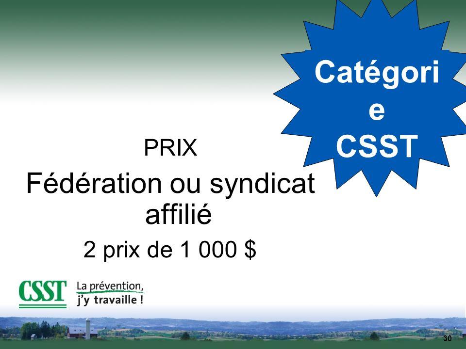 30 Catégori e CSST PRIX Fédération ou syndicat affilié 2 prix de 1 000 $