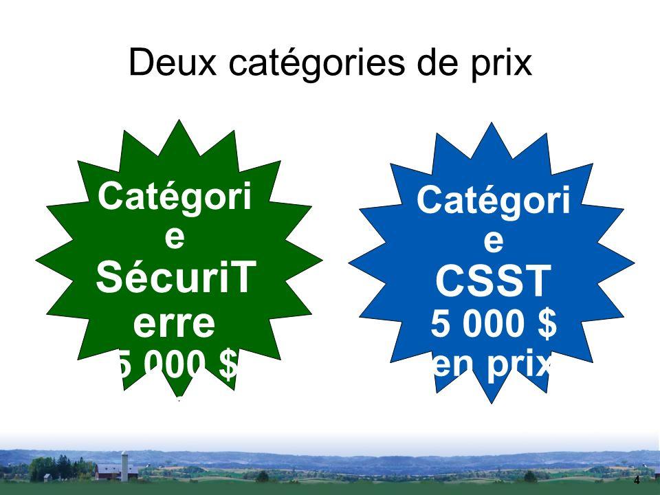 4 Deux catégories de prix Catégori e SécuriT erre 5 000 $ en prix Catégori e CSST 5 000 $ en prix