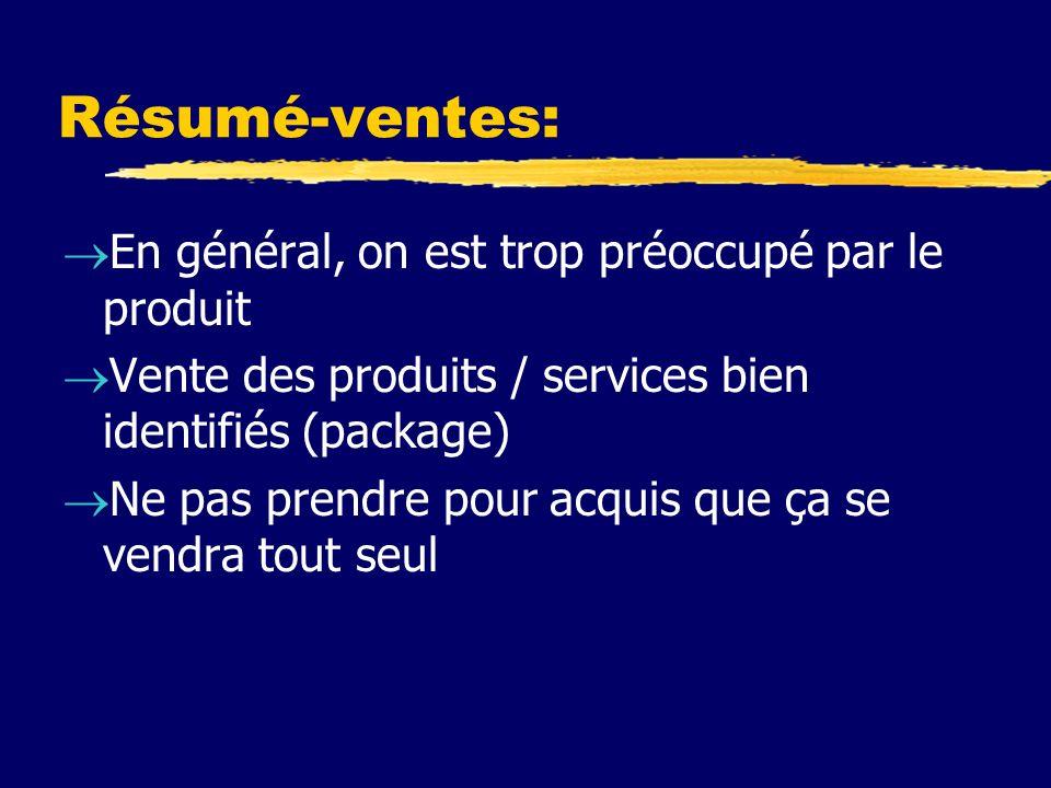 Résumé-ventes: En général, on est trop préoccupé par le produit Vente des produits / services bien identifiés (package) Ne pas prendre pour acquis que