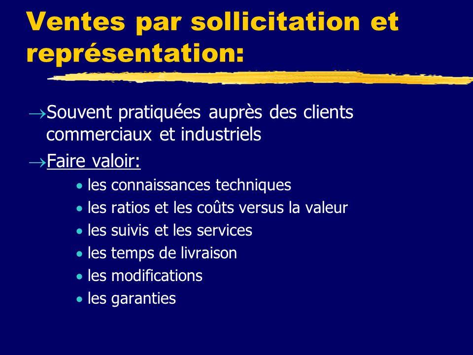 Ventes par sollicitation et représentation: Souvent pratiquées auprès des clients commerciaux et industriels Faire valoir: les connaissances technique