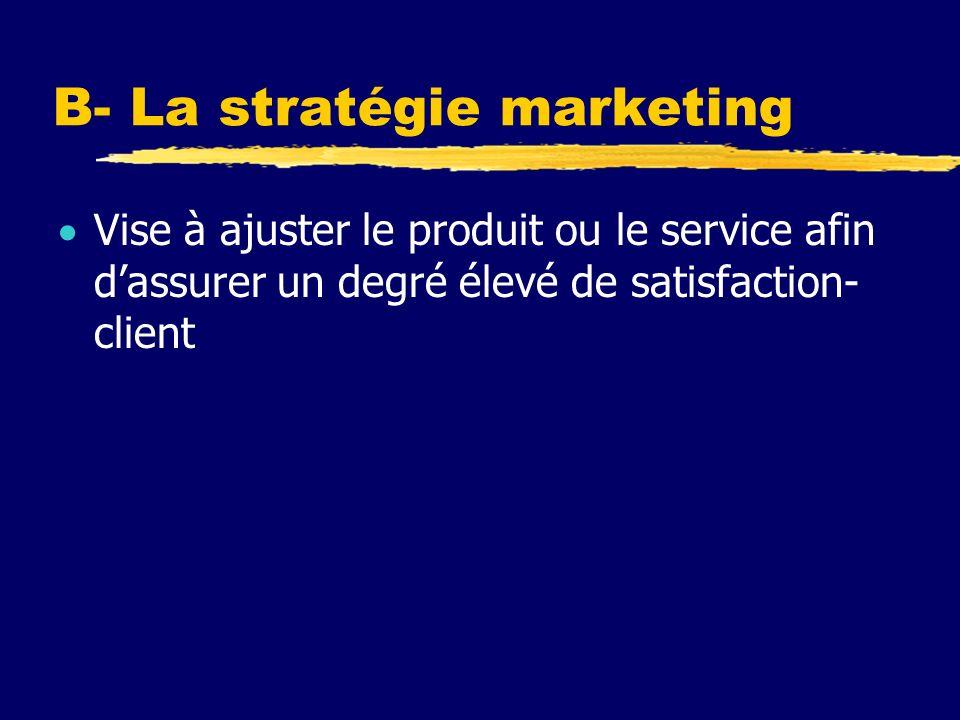 B- La stratégie marketing Vise à ajuster le produit ou le service afin dassurer un degré élevé de satisfaction- client