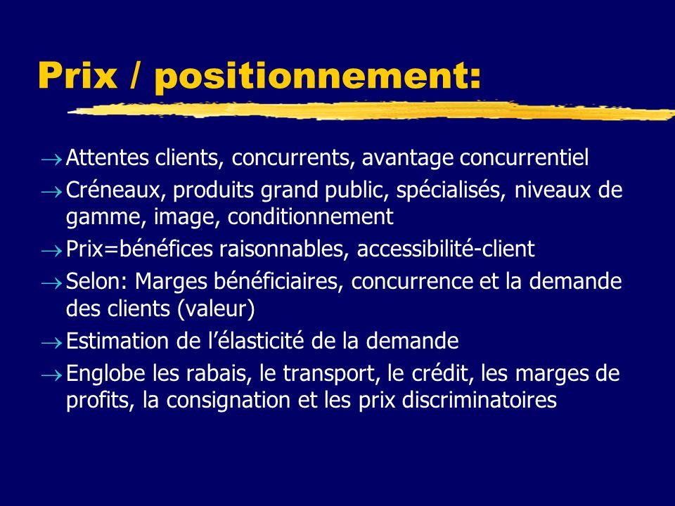 Prix / positionnement: Attentes clients, concurrents, avantage concurrentiel Créneaux, produits grand public, spécialisés, niveaux de gamme, image, co