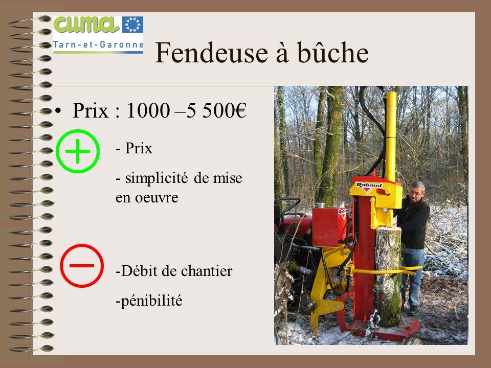Fendeuse à bûche Prix : 1000 –5 500 - Prix - simplicité de mise en oeuvre -Débit de chantier -pénibilité