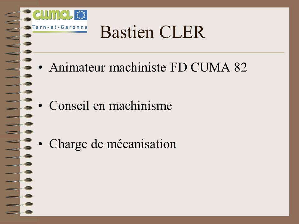 Animateur machiniste FD CUMA 82 Conseil en machinisme Charge de mécanisation