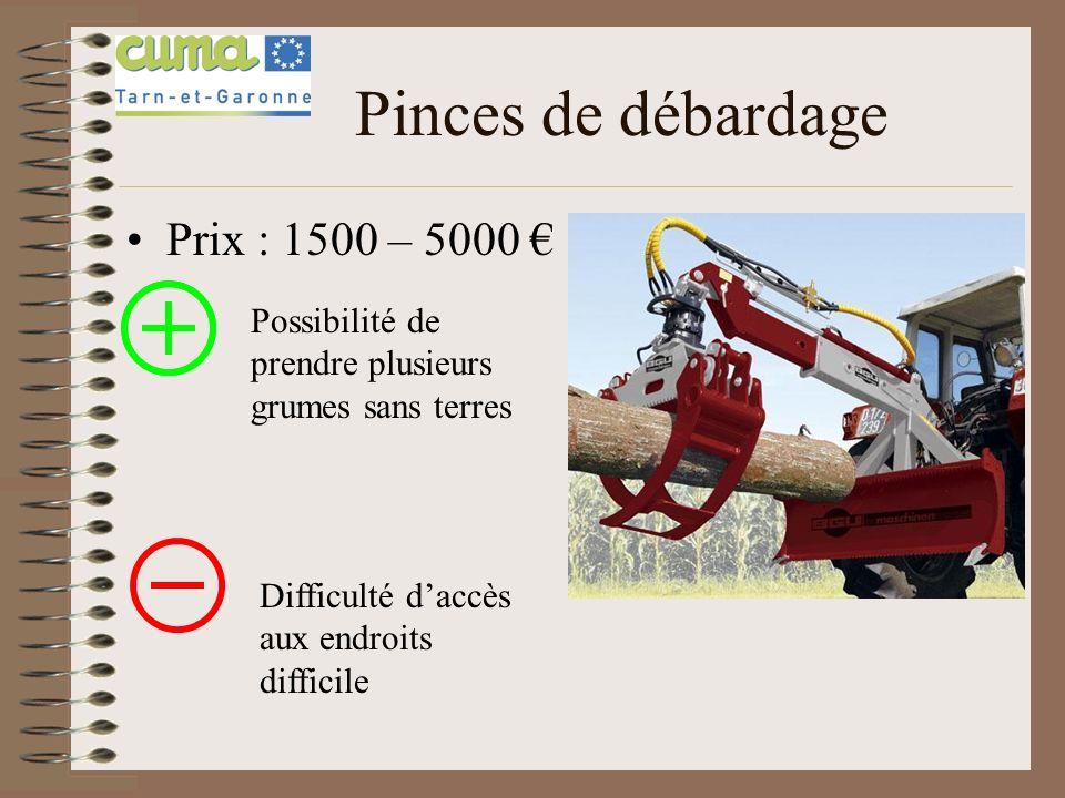 Pinces de débardage Prix : 1500 – 5000 Possibilité de prendre plusieurs grumes sans terres Difficulté daccès aux endroits difficile