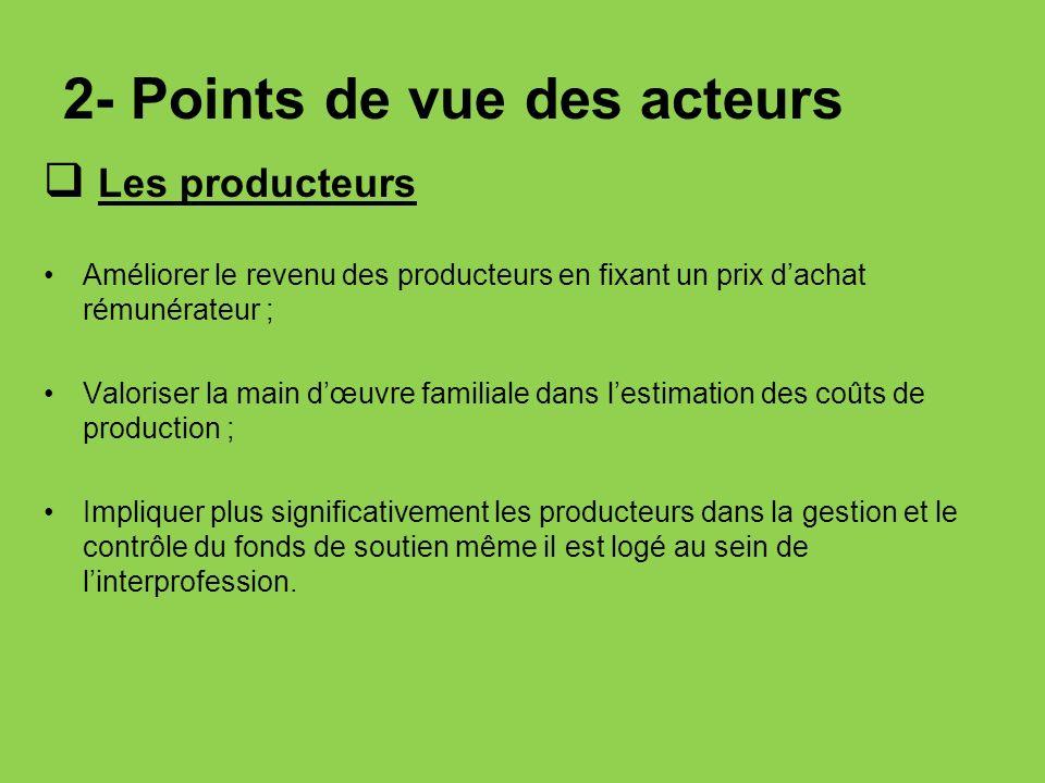 2- Points de vue des acteurs Les producteurs Améliorer le revenu des producteurs en fixant un prix dachat rémunérateur ; Valoriser la main dœuvre fami
