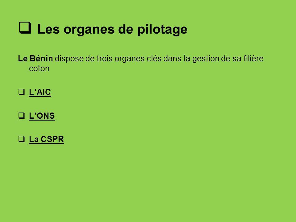 Les organes de pilotage Le Bénin dispose de trois organes clés dans la gestion de sa filière coton LAIC LONS La CSPR