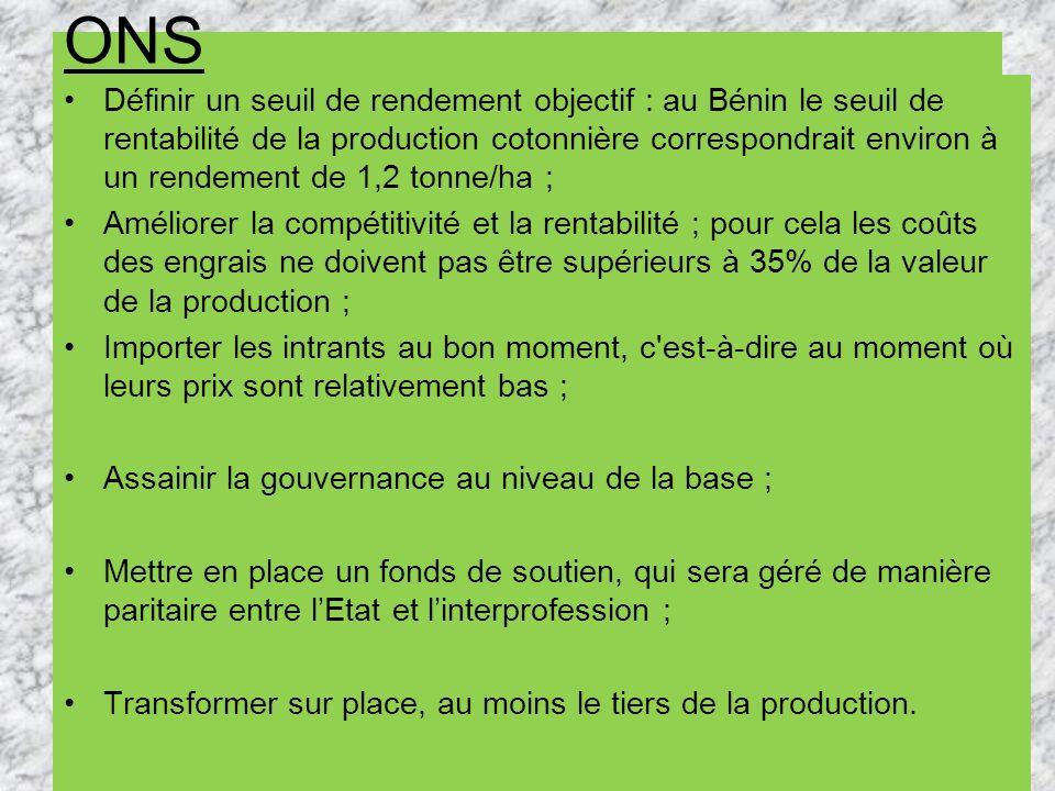 ONS Définir un seuil de rendement objectif : au Bénin le seuil de rentabilité de la production cotonnière correspondrait environ à un rendement de 1,2