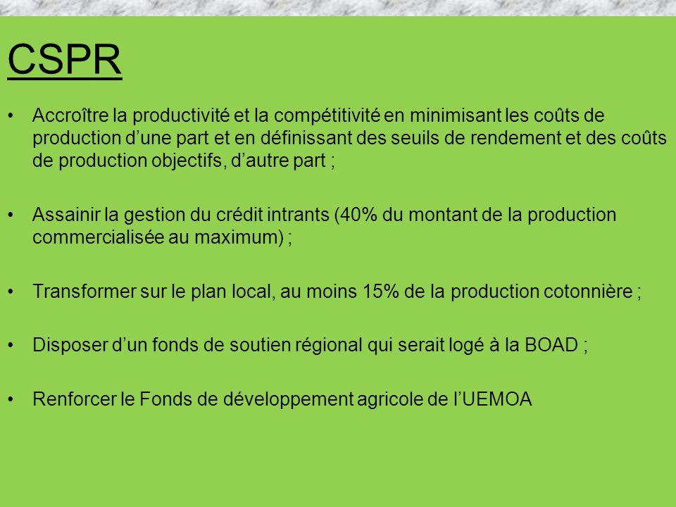 CSPR Accroître la productivité et la compétitivité en minimisant les coûts de production dune part et en définissant des seuils de rendement et des co