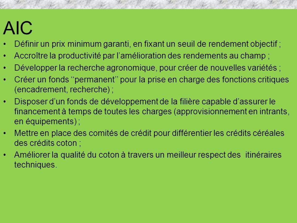 AIC Définir un prix minimum garanti, en fixant un seuil de rendement objectif ; Accroître la productivité par lamélioration des rendements au champ ;