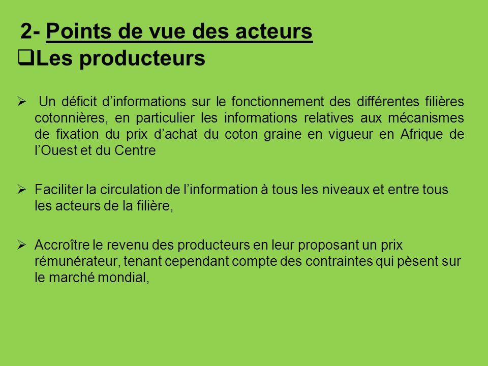 2- Points de vue des acteurs Les producteurs Un déficit dinformations sur le fonctionnement des différentes filières cotonnières, en particulier les i