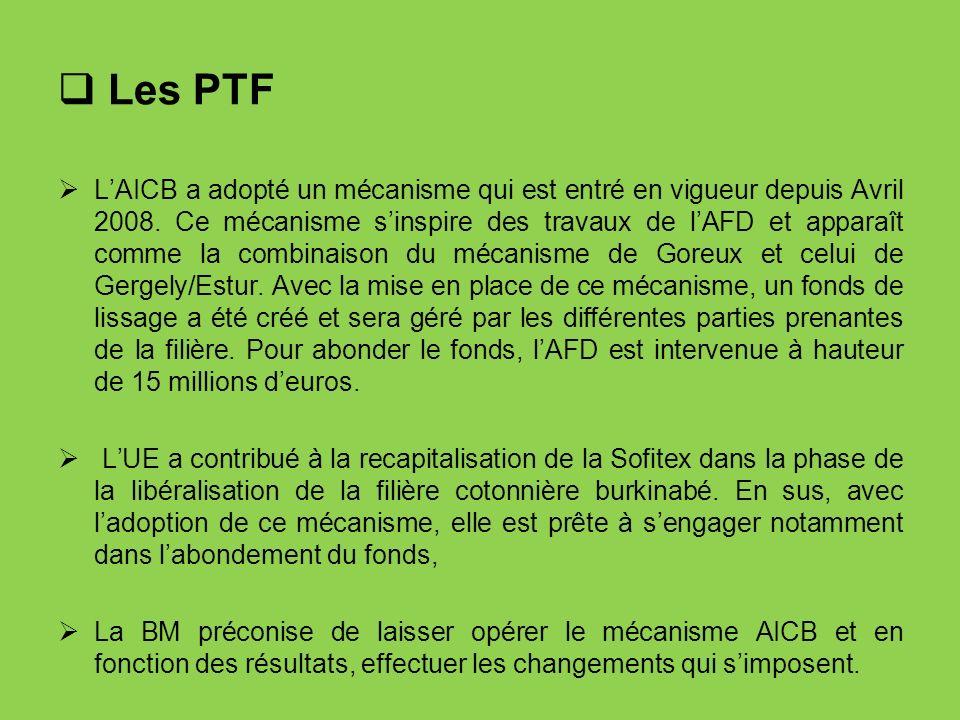 Les PTF LAICB a adopté un mécanisme qui est entré en vigueur depuis Avril 2008. Ce mécanisme sinspire des travaux de lAFD et apparaît comme la combina