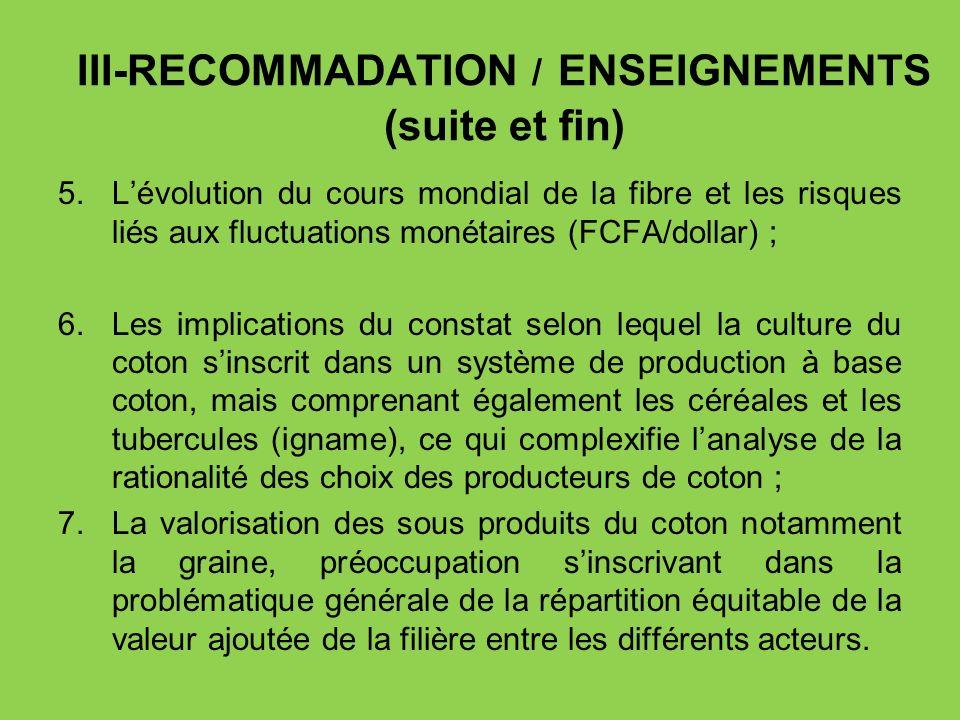 III-RECOMMADATION / ENSEIGNEMENTS (suite et fin) 5.Lévolution du cours mondial de la fibre et les risques liés aux fluctuations monétaires (FCFA/dolla