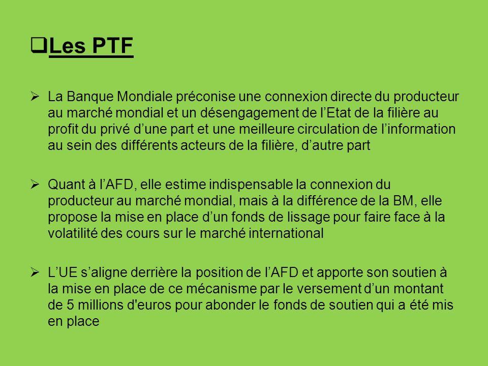 Les PTF La Banque Mondiale préconise une connexion directe du producteur au marché mondial et un désengagement de lEtat de la filière au profit du pri