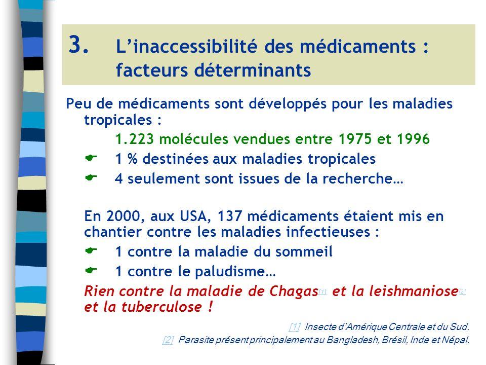 Peu de médicaments sont développés pour les maladies tropicales : 1.223 molécules vendues entre 1975 et 1996 1 % destinées aux maladies tropicales 4 seulement sont issues de la recherche… En 2000, aux USA, 137 médicaments étaient mis en chantier contre les maladies infectieuses : 1 contre la maladie du sommeil 1 contre le paludisme… Rien contre la maladie de Chagas [1] et la leishmaniose [2] et la tuberculose .