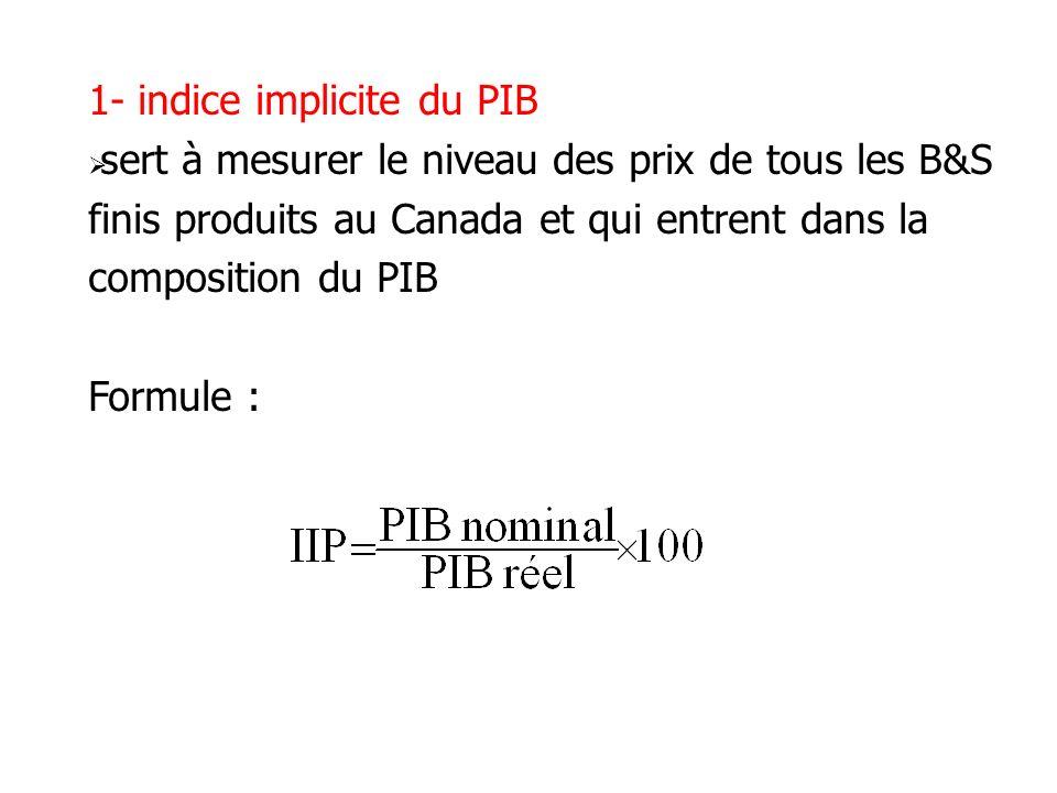 1- indice implicite du PIB sert à mesurer le niveau des prix de tous les B&S finis produits au Canada et qui entrent dans la composition du PIB Formul