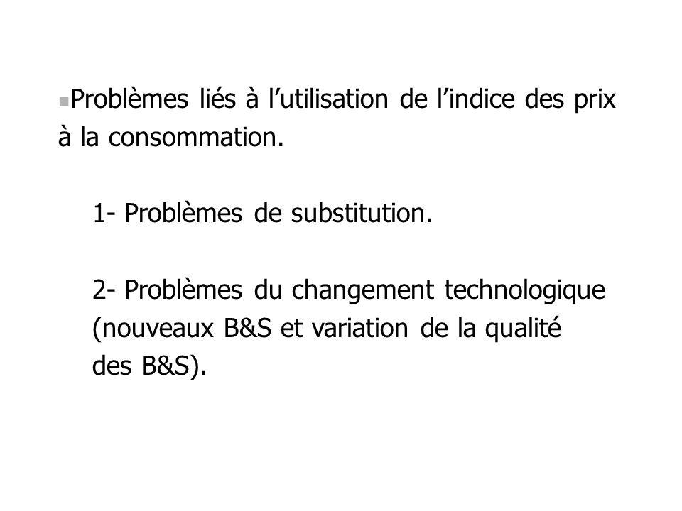 Problèmes liés à lutilisation de lindice des prix à la consommation. 1- Problèmes de substitution. 2- Problèmes du changement technologique (nouveaux