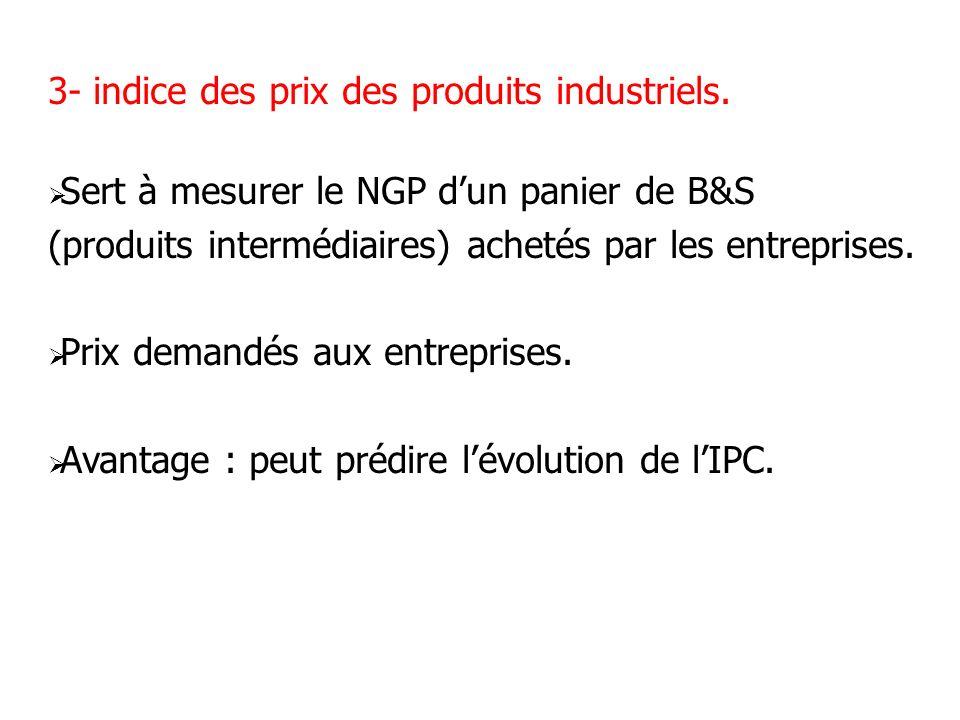 3- indice des prix des produits industriels. Sert à mesurer le NGP dun panier de B&S (produits intermédiaires) achetés par les entreprises. Prix deman
