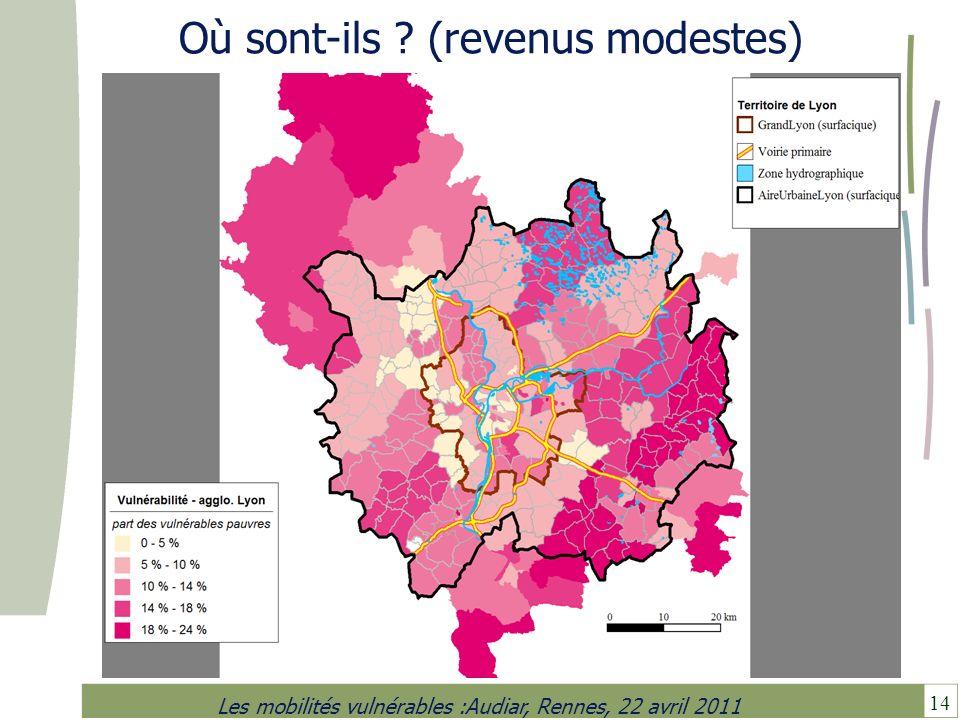 14 Les mobilités vulnérables :Audiar, Rennes, 22 avril 2011 Où sont-ils ? (revenus modestes)